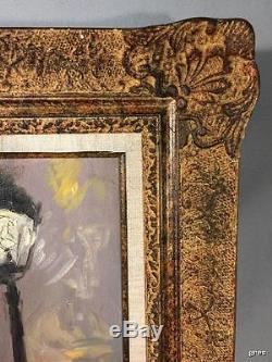 Grand Tableau Ancien Des Années 50 / Peinture Sur Toile Paris Sous La Pluie