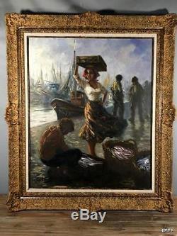 Grand Tableau Ancien Des Années 50 / Peinture Sur Toile Retour Des Pecheurs