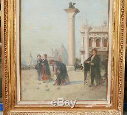Grand Tableau Ancien Fin XIXe Elégantes Place Saint Marc VENISE Italie Oiseaux