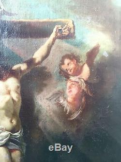 Grand Tableau Ancien HST Christ Croix Passion École française XVII ou XVIII e