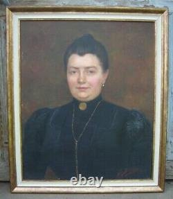 Grand Tableau Ancien HST Portrait de Femme Signé 1900 XX ème