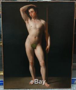 Grand Tableau Ancien Huile Académie Nu Masculin 1825 XIXe Signé Cortot