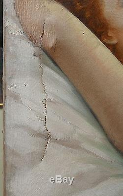 Grand Tableau Ancien Huile Nu Féminin Jeune Femme Rousse LÉON GALAND 1920
