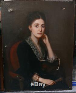 Grand Tableau Ancien Huile Portrait Jeune Femme Éventail Camée XIXe à restaurer