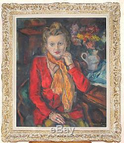 Grand Tableau Ancien Huile Portrait Jeunne Femme Franck INNOCENT 1944 Monet