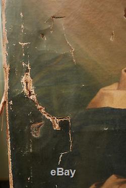 Grand Tableau Ancien Huile Portrait de Saint Plume XIXe À RESTAURER