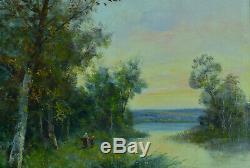 Grand Tableau Ancien Impressionniste signé Edma Morisot Paysage Normandie Corot