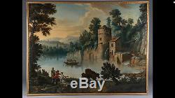 Grand Tableau Ancien Paysage Romantique Couple Bateau éc. Française L CRÉPIN 18e
