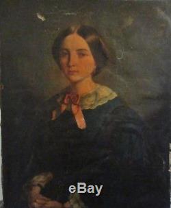 Grand Tableau Ancien Portrait Jeune Femme Epoque Romantique Restauration XIXe