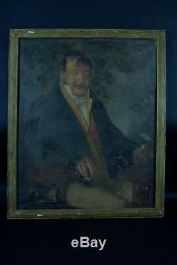 Grand Tableau Ancien Portrait d'homme XVIII éme sv. Baron Gros David Gérard hst