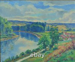 Grand Tableau ancien HST Paysage Village fleuve L'Yonne Eugène Gallina cadre LXV