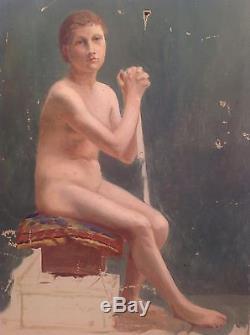 Grand Tableau ancien Nu feminin Académique XIXe huile à restaurer Nude Oil 19th