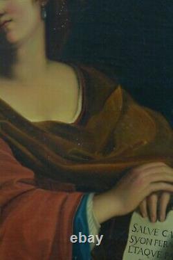 Grand Tableau ancien Portrait Sibylle le Guerchin Musé des Offices Prophétie