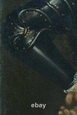 Grand Tableau ancien Portrait d'homme Perruque Armure Harmet Blazon 17 ème hst