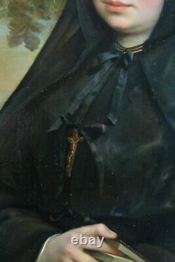 Grand Tableau ancien Portrait jeune femme habit Religieuse Moniale Desenne cadre
