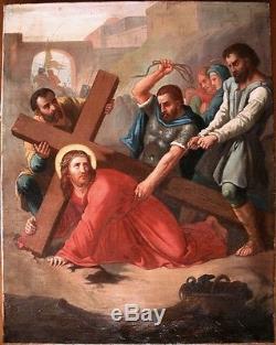 Grand Tableau ancien Simon de Cyrène aide Jésus Chemin de croix 5ème station