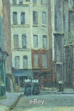 Grand Tableau ancien Vue animée rue Paris Paysage Cesar Bron 1930 HST rare