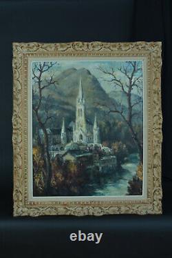 Grand Tableau ancien Vue de la Basilique de Lourdes Notre Dames de Lourdes Jiva