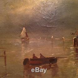 Grand Tableau ancien XIXe Marine Ecole Française Huile sur Toile bateaux Signé