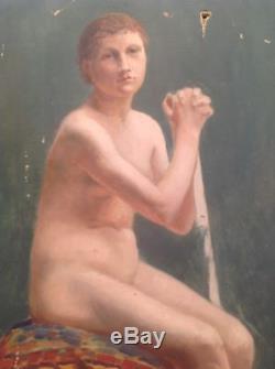 Grand Tableau ancien académique huile Nu feminin XIXe à identifier Nude Oil 19th