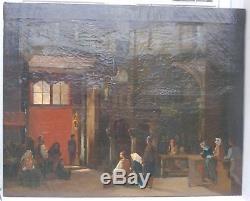 Grand Tableau ancien début 19ème scène de genre huile sur toile non signée
