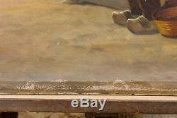 Grand Tableau ancien début 20ème Marine Marin Bateau Pêche