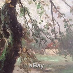 Grand Tableau ancien signé huile toile Paysage Barbizon Landscape Oil Painting