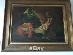 Grand et ancien tableau huile su panneau signé par un artiste à déchiffre