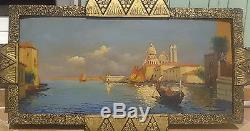 Grand tableau ancien 19ème VENISE huile LEROUX la salute 40 X 80