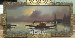 Grand tableau ancien 19ème VENISE huile LEROUX le campanile 40 X 80