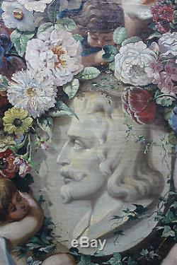 Grand tableau ancien Guirlande de fleurs aux putti et portrait d'homme Anonyme