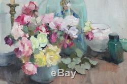 Grand tableau ancien HST Bouquet de roses Marthe BOELENS (1905-) Ecole belge