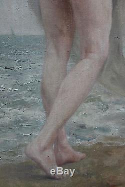 Grand tableau ancien HST Femme nue à la mer Anonyme