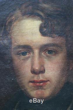 Grand tableau ancien HST Portrait de jeune homme Anonyme