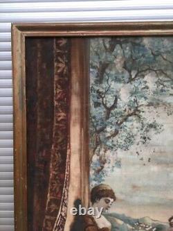 Grand tableau ancien, Huile sur toile, Scène galante, Fin XIXe début XXe