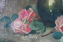 Grand tableau ancien Jetée de roses Jan STEENSEL (XIX)