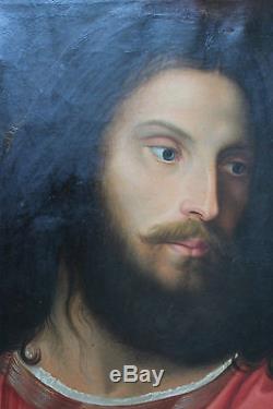 Grand tableau ancien Judas trahi Jésus Anonyme Superbe