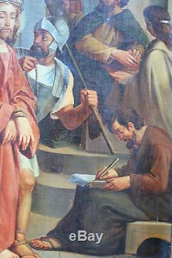Grand tableau ancien La passion du Christ Anonyme Superbe