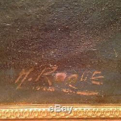 Grand tableau ancien Marine Musée Paul Valéry Huile sur toile Paquebot tempête