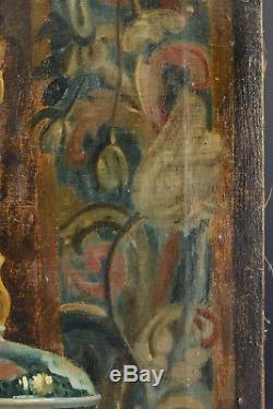Grand tableau ancien Nature Morte a la statue tableau casque livre intérieur 19e
