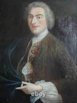 Grand tableau ancien Portrait d'homme Huile sur toile -Ecole du XVIIIe