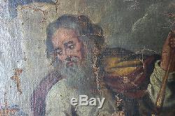 Grand tableau ancien Scéne religieuse Anonyme XVIIème