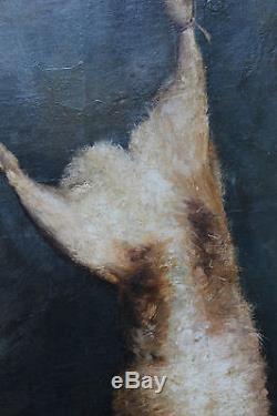 Grand tableau ancien Trophée de chasse Nature morte au lièvre Anonyme Superbe
