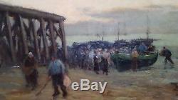 Grand tableau ancien de marine école bretonne retour de pêche en Bretagne