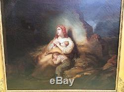 Grand tableau ancien du XIXème cadre doré