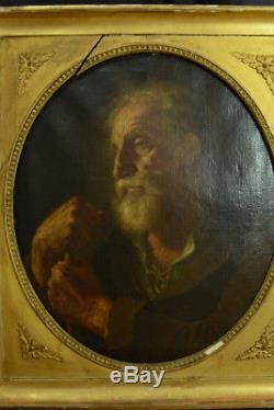 Grand tableau ancien école Italienne portrait d'homme à la barbe 18 ème cadre or