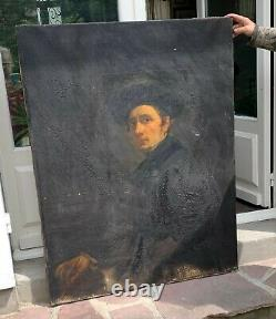 Grand tableau ancien huile portrait. Eugène Goyet. 1798-1857