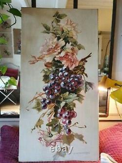 Grand tableau ancien huile sur toile nature morte inspiration Catherine Klein 2