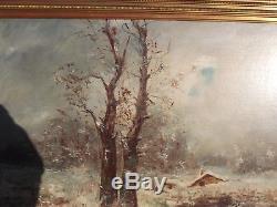Grand tableau ancien paysage hivernal sous la neige signature a identifier