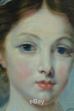 Grand tableau ancien portrait de jeune fille Paysage Jean baptiste Greuze 19th